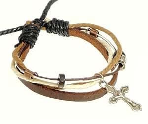 Bracelet en cuir brun, cordon, perles et métal Croix / bracelet en cuir de crucifix / bracelet en cuir / surfer bracelet - 99
