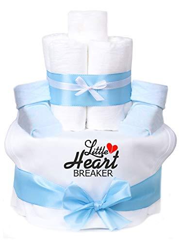 Trend Mama Windeltorte hellblau Junge Lätzchen Babysocken Little Heart Breaker - Cake Breaker