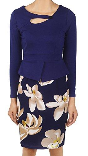 Minetom Femme Élégante Bodycon Stretch Slim Floral Au genou Bureau Affaires Crayon Peplum Cocktail Robe Longueur du Genou Bleu01