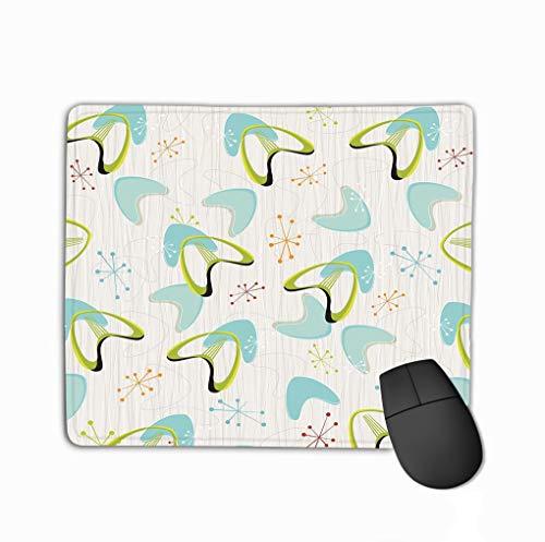 Family Mouse Pad,Standard Size Rectangle Non-Slip Rubber Mousepad 11.81 X 9.84 Inch Inspired barkcloth Fabrics s s Retro Boomerangs Stars Pattern Retro bark Cloth Boomerangs Modern -