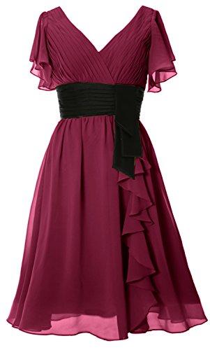 MACloth Elegant Short Sleeve Mother of Bride Dress V Neck Cocktail Formal Gown Wine Red