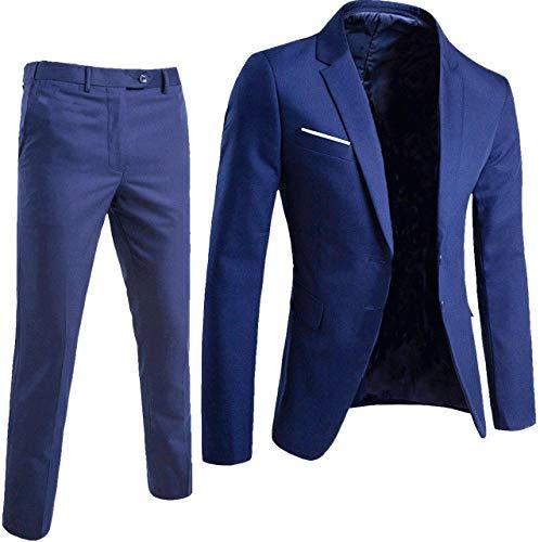 Keskin Anzug Herren Anzug Schwarz Business Slim Fit (L, Blau) -
