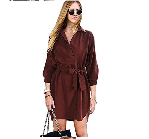 Xizi Frauen-tiefe V-Ausschnitt-lange Hülse sammeln Taillen-Party-Kleid Claret-red KXL