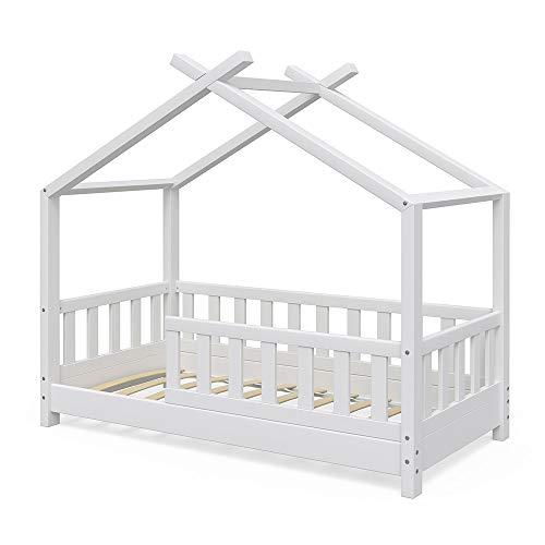 Vicco Kinderbett Hausbett Design 70x140cm Weiß Zaun Kinder Bett Holz Haus  Schlafen Hausbett Spielbett Inkl. Lattenrost Und Fallschutzgitter