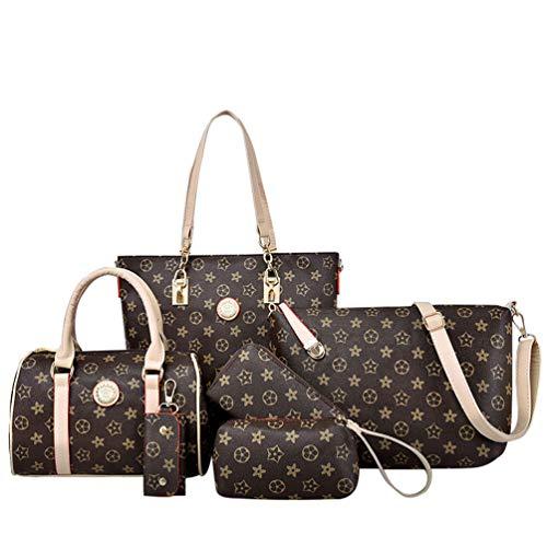 ZKOOO Damen Große Handtasche 6pc Set PU Leder umhängetasche Handbag Shoulder Bag Clutch Wallet Key case