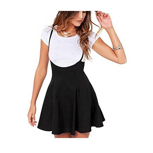 Koly_Donne Gonna nera modo con spallacci vestito pieghettato (S)