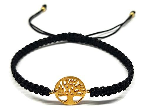 ia Armband aus 925er Sterlingsilber - Baum des Lebens - in Makro-Schwarz - verstellbar - zum Verschenken Goldfarben ()