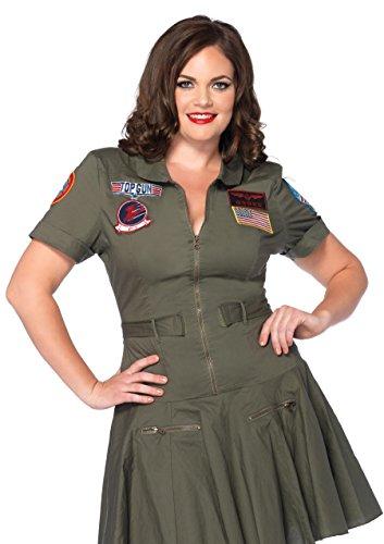 Leg Avenue Damen Plus Größe Top Gun Flight (Gun Top Flight Kostüme)