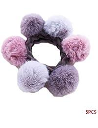 Arichtop 2pcs   5pcs donne a contrasto palla peluche Colore capelli anello  fermacapelli della ragazza dei f122a7bc44df