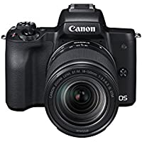 Canon EOS M50 spiegellose Systemkamera (24,1 MP, dreh-und schwenkbares 7,5cm (3 Zoll) Touchscreen-LCD, Digic 8, 4K Video, OLED EVF,WLAN, bluetooth) + EF-M 18-150mm IS STM Objektiv schwarz