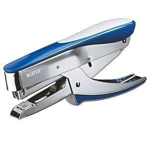 Leitz Pince Agrafeuse 5548 pour Agrafes 24/6, 26/6 - Inox et Bleu