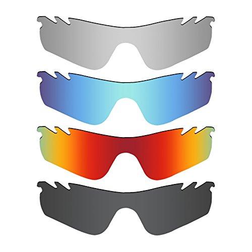 MRY 4Paar Polarisierte Ersatz Gläser für Oakley Radarlock Path belüftet Sunglasses-Stealth schwarz/fire rot/Ice blau/Silber Titan