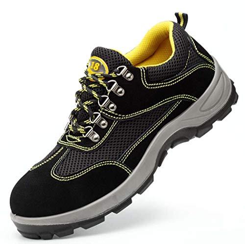 BHPL Uomo d'Acciaio Pattini di Lavoro Toe Industrial Safety & Construction Sneakers puntura Antiscivolo Traspirante Scarpa Resistente,41