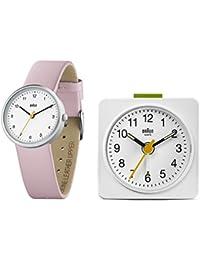 Braun Damen Uhren-Geschenkset Analog Leder - BN0231WHPK/BNC019WH