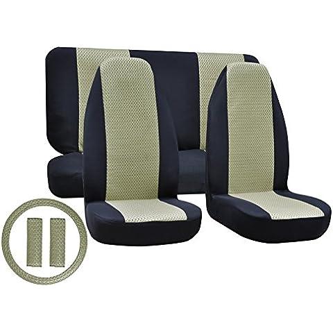 Coprisedili auto Sandwich panno traspirante Mesh strati protezione sedile anteriore & posteriore Coprisedili Set completo (7pezzi)