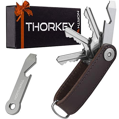 NORTHWALL® Smart Key Organizer Keychain | Organizador de llaves , Compacto llavero y organizador, Leather Compact Key Holder, Secure Locking Mechanism, Stainless Steel Multi-tool, 1-10 llaves