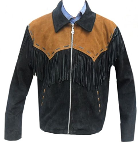 Mens Black Western Cowboy Genuine Suede Leather Jacket Coat Fringe 01 XL -