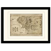 The Hobbit Middle Earth Map A3 Framed and Mounted Print