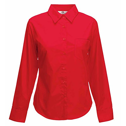 Fruit of the Loom Womens Lady-Fit Long Sleeve Poplin Shirt red