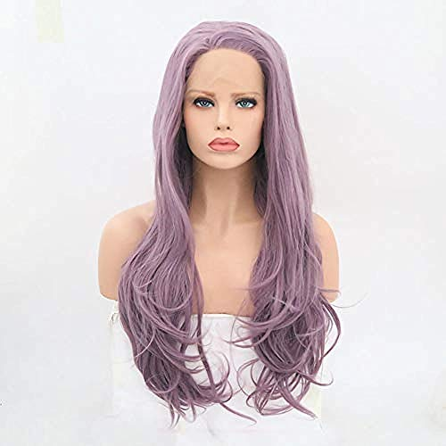 Parrucca lunga in pizzo parrucca riccia chiara viola parrucca per capelli parrucca per onde del corpo parrucca frontale in pizzo lady girl 24 pollici
