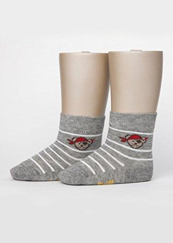 Steiff - Socke Teddykopf Pirat Ringel Größe: 98-104 Farbe: grau meliert