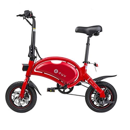 Bici elettriche Bicicletta elettrica Mini Bicicletta elettrica al Litio da 12 Pollici Pieghevole Bicicletta elettrica (Color : Red, Size : 116 * 50 * 99cm)