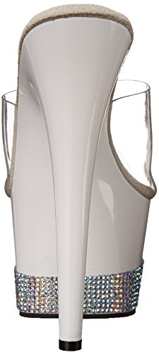 Pleaser Adore-701-3, Sandales  Bout ouvert femme Blanc Cassé - Blanco (Weiss (Clr/Wht))