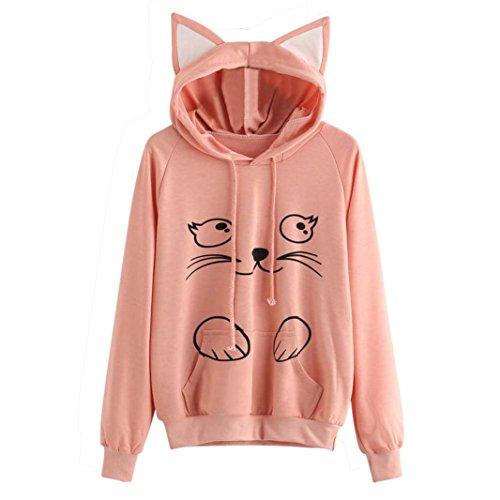 36d56e875 LMMVP Sudadera con Capucha para Mujer Gato Manga Larga Pullover Tops Blusa  Camisa de niña Abrigo de Mujer