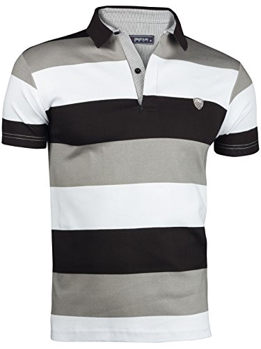 HERREN SOMMER POLO HEMD T-SCHIRT POLOSCHIRT GESTREIFT KURZARM 100% BAUMWOLLE, Größe:XL, Farbe:Grau (Gestreiftes Polo-shirt Grau)
