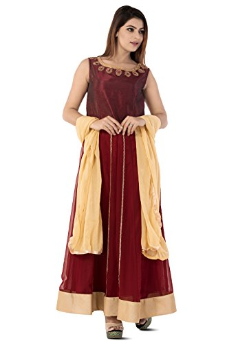 Utsav Fashion Embroidered Georgette Abaya Style Suit in Maroon Color