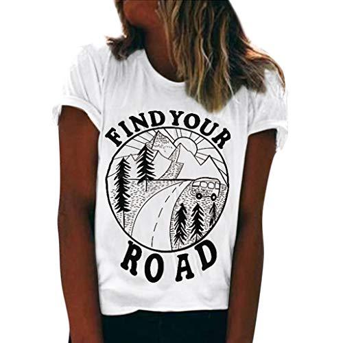Sommer Bluse, Damen Mode Print Kurzarm T-Shirt Oansatz Druck Tops Bluse(Weiß,M) ()