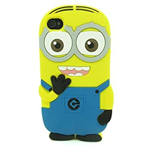 3D light blue Fragrant Despicable Me Minions Henchmen Soft Silicone Case Skin Protective Cover for ipod touch 4 4th (binoculus)