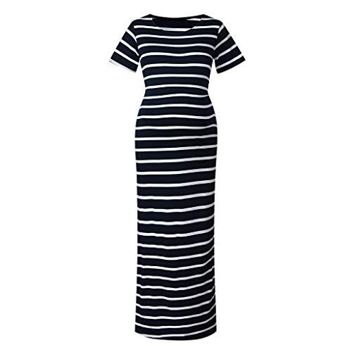 OVINEE Frauen Langes Kleid Für Frauen Kurzarm Schwangerschaftskleid Umstandskleider für Fotografie Streifen Sommer (Für Frauen 20 Kirche Größe Kleider)