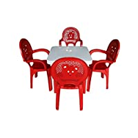 Resol Childrens Kids Garden Outdoor Plastic Chairs & Table Set - Red Chairs, White Table - Childs Furniture (Pack of 4 Chairs & 1 Table)