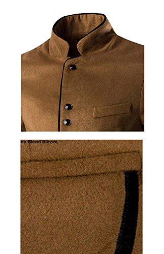 Ghope Herren Herbst Winter Outdoor Robuste Jacke Freizeit Windjacke Männer Parka Trenchcoat Stehkragen Outerwear Anzug Kahki