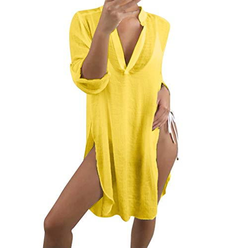 Boxer Mädchen Ring Kostüm - GREYF Frauen V-Ausschnitt Split Design Bluse Tops Bikini Cover Beach Bluse(L,Gelb)