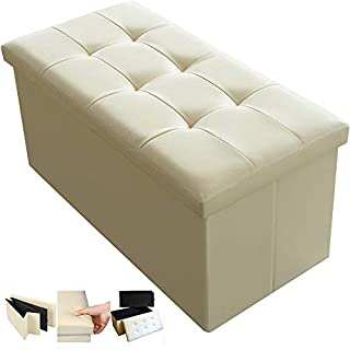 Amagabeli Garden Home Folding Storage Ottoman Bench Cube 78cm Fabric Storage Chest with Memory Foam Seat Footrest Padded Upholstered Stool Seat for Bedroom Toy Chest Box Coffee Table