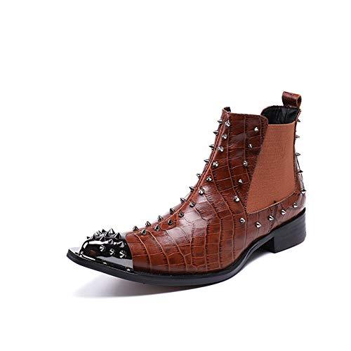 Western-leder-schuhe (ZWF Shoes Herren Stiefeletten Western Cowboy Stiefe Klassisch Clever Braun Abend Party Kleiden Chelsea-Stiefel Leder Schuhe,Brown,EU45/UK11)