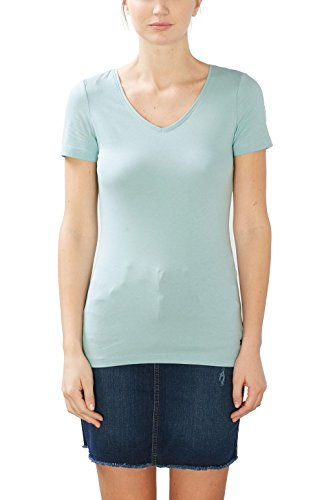 Grüne Damen Light T-shirt (ESPRIT Damen T-Shirt 126EE1K007 Grün (Light Aqua Green 4 393), 36 (Herstellergröße: S))