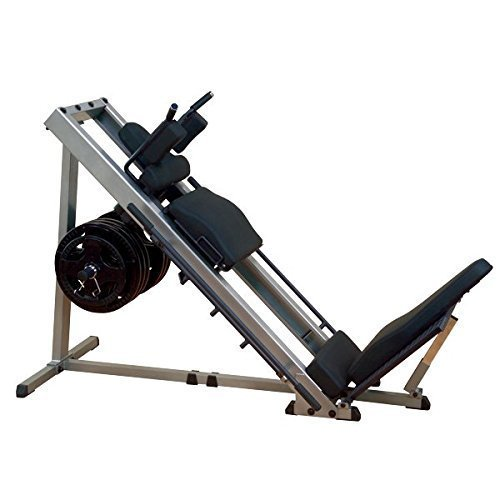 Body-Solid GLPH-1100 Beinpresse 45° / Hackenschmidt mit Gewichten, 30mm (100kg/120kg) (100kg Hantelscheiben Gummi)