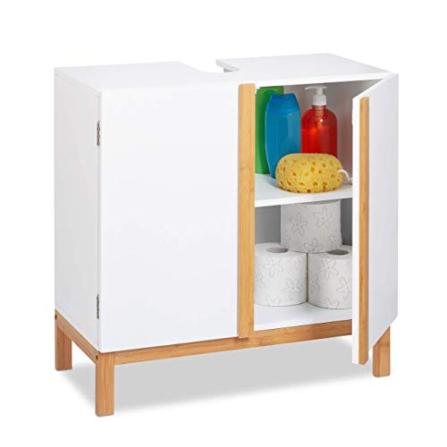Relaxdays Waschbeckenunterschrank, 2 Fächer, Badschrank MDF & Bambus, Waschbeckenschrank HBT 60,5x60x30,5cm, Weiß/Natur