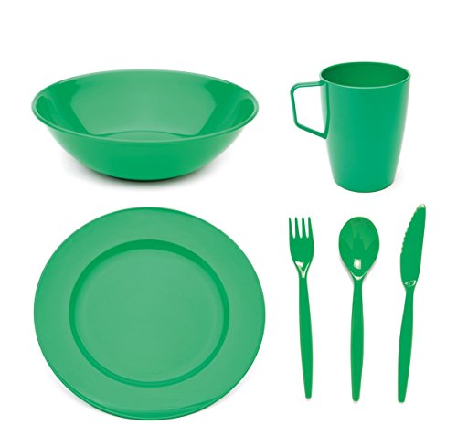 Scout and Girl Guide Polycarbonate Tableware Set - Plate, Bowl, Mug & Cutlery - Green