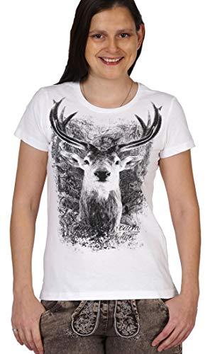 Soreso Design Bayerisches Wiesn Trachten T-Shirt für Damen - Hirsch Zwölfender - Outfit Oktoberfest und Volksfest, Größe:S