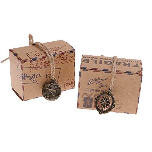 50 Stück Süßigkeiten Tasche Geschenk-Boxen DIY Kraft Kästen Retro Kraftpapier Post-Art Box mit Kompaß Anhänger für Hochzeitsfestbevorzugung Weihnachtsplätzchen, Geburtstag, Feiertag, Thanksgiving