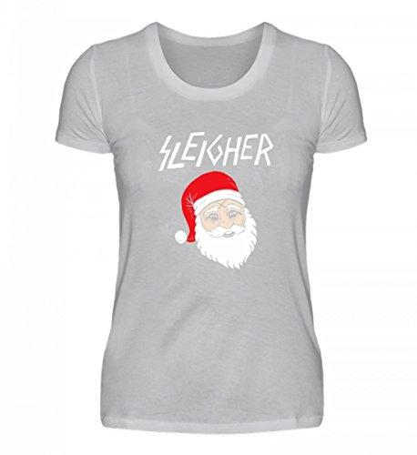 Shirtee Hochwertiges Damenshirt - Sleigher Santa Claus Xmas Christmas Grau (Meliert)