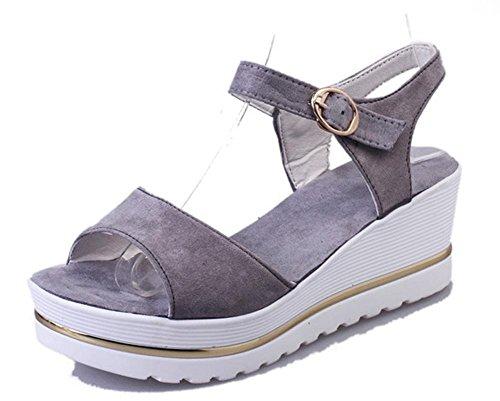 pente d'été avec des femmes tête de poisson épaisse croûte sandales étudiant de chaussures imperméables Grey