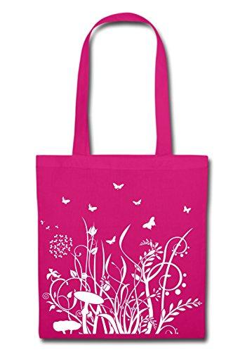 Mein Zwergenland Stofftasche mit Langem Henkel, 2 L, Frühlingszauber, Fuchsia