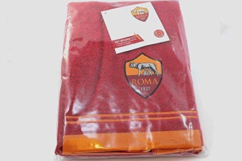 Roma 8907 020 2140 Set Asciugamano e Ospite in Spugna, 100% Cotone, Giallo/Rosso, 100 x 60 x 1 cm