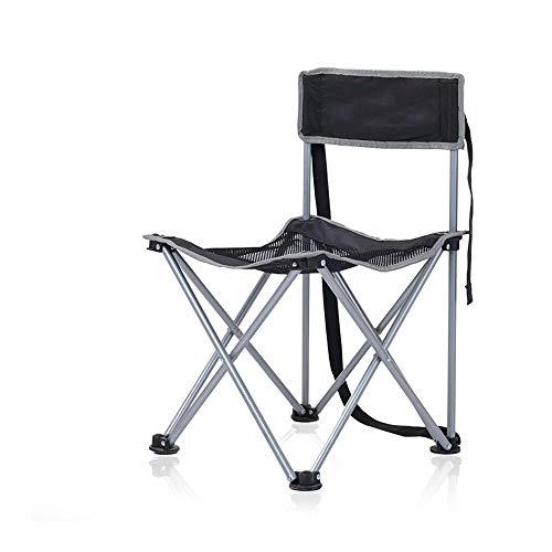 DEI QI Chaise de Camping portative de Barbecue de Chaise de pêche portative de Chaise de pêche de Chaise de Camping Se Pliante arrière (Couleur : Black)