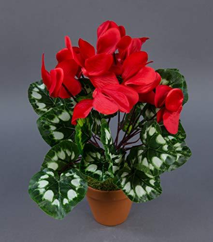 Seidenblumen Roß Alpenveilchen 36cm rot im Topf ZF künstliche Blumen Kunstpflanzen Kunstblumen Cyclamen